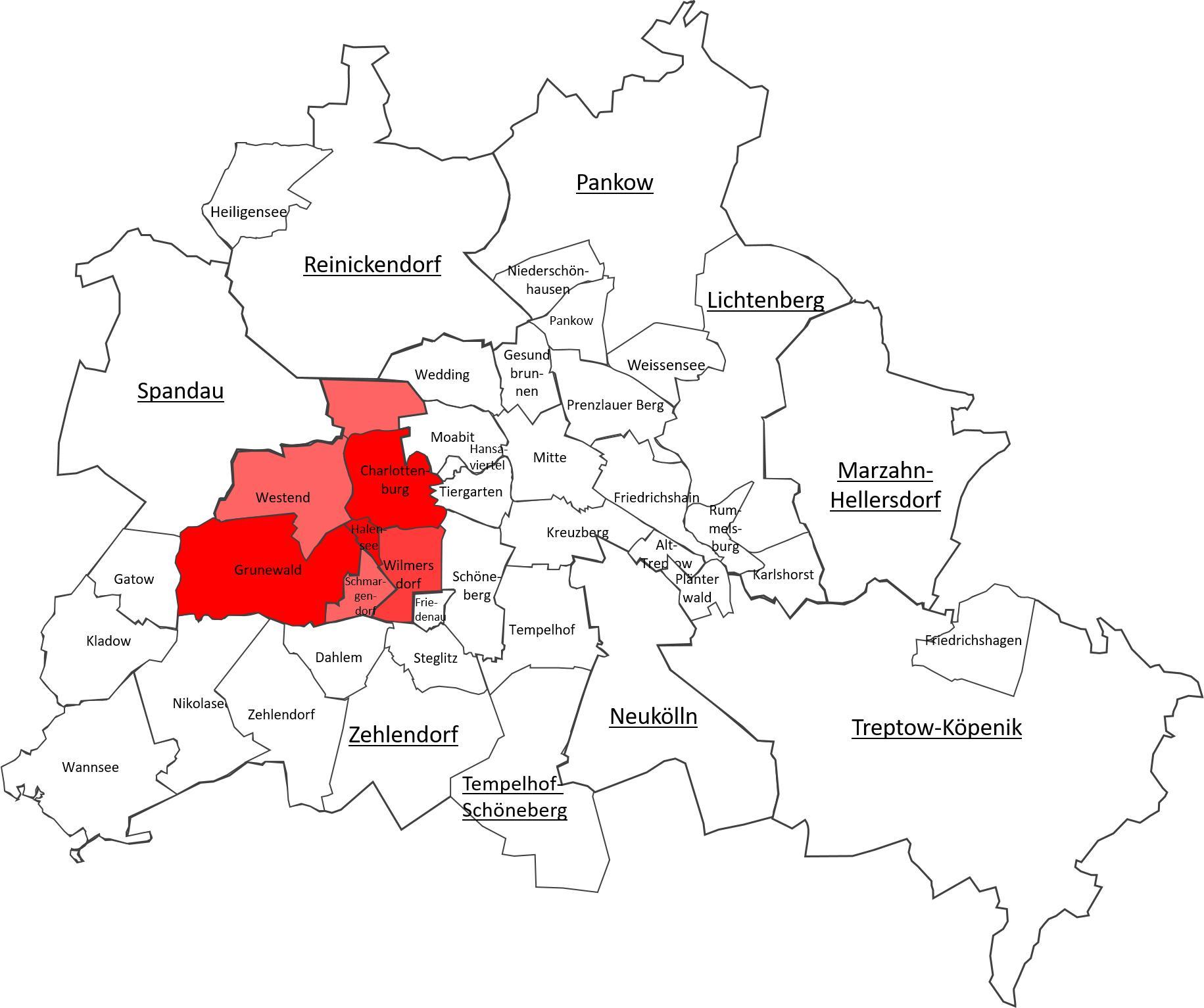 Charlottenburg Berlin Map Map Of Charlottenburg Berlin Germany
